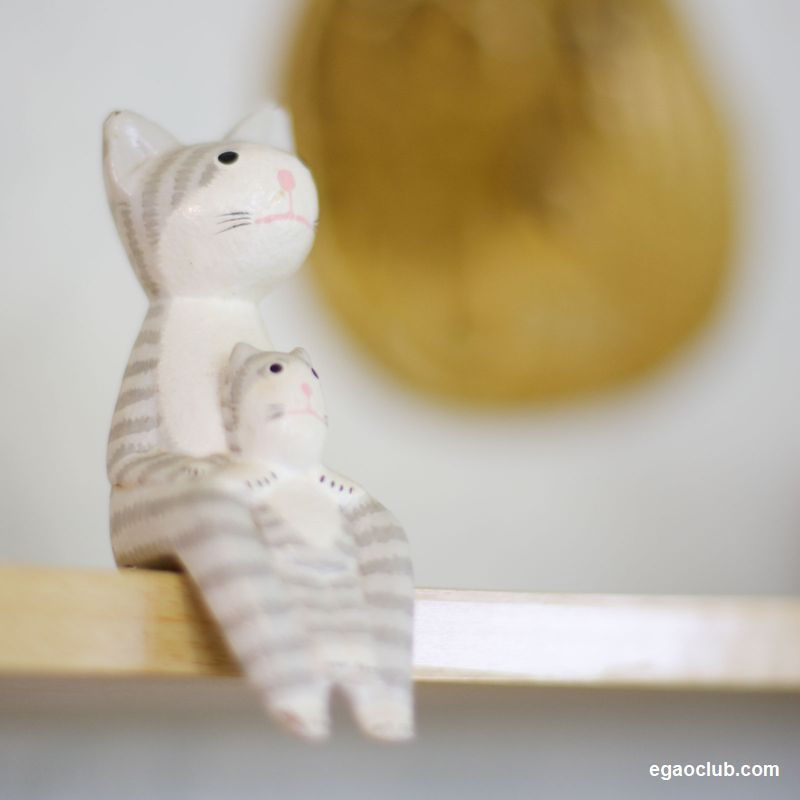 黄昏る猫の親子